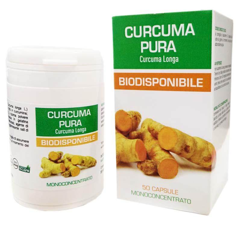 CURCUMA PURA BIODISPONIBILE - INTEGRATORE PER LA FUNZIONE DIGESTIVA ED EPATICA - 50 CAPSULE DA 0,35 G