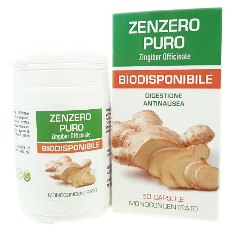 ZENZERO PURO BIODISPONIBILE - INTEGRATORE PER LA FUNZIONE DIGESTIVA E GASTROINTESTINALE - 50 CAPSULE DA 0,35 G